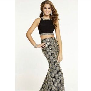 Panoply Black & Gold Two-Piece Prom Dress